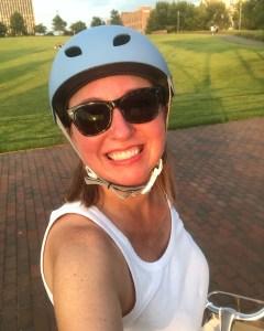 Me on a sunset bike ride at Railroad Park in Birmingham, AL.