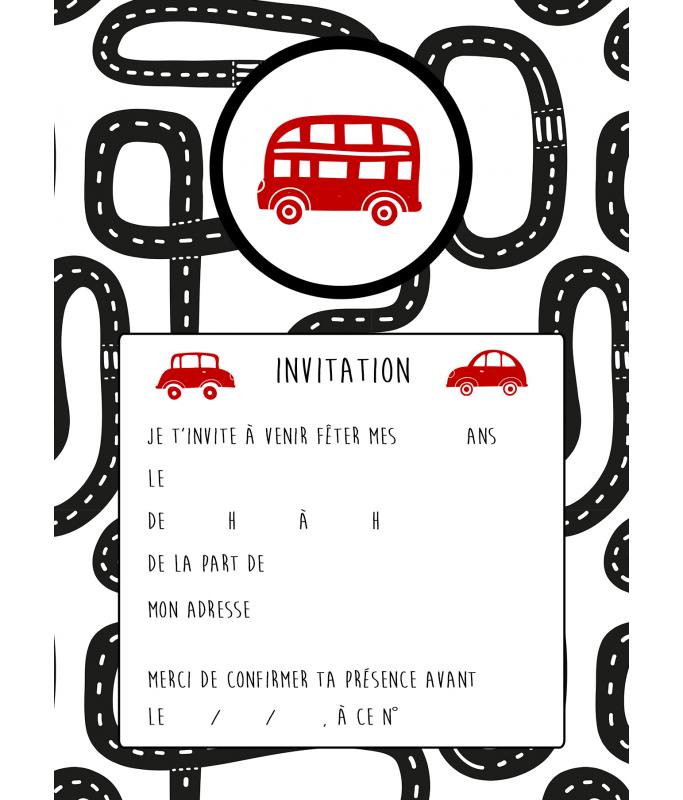carte d invitation anniversaire circuit la folle idee