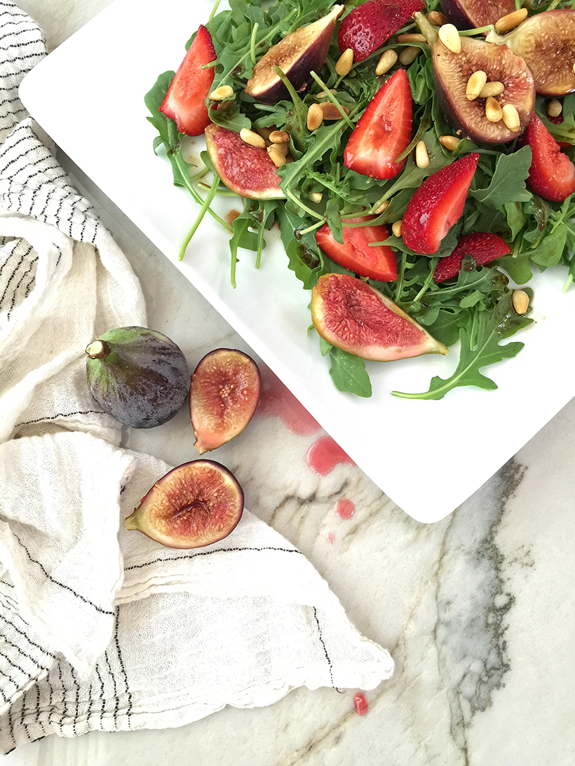 Gin Poached Figs & Strawberry Salad
