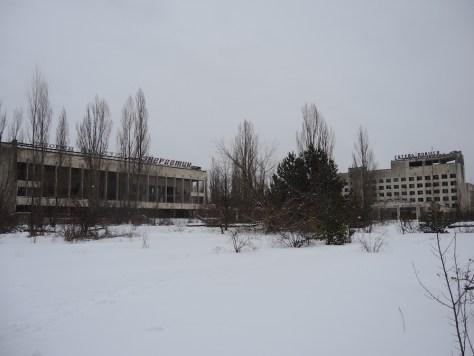 Kulturpalast (links) und das Polissya Hotel (rechts)