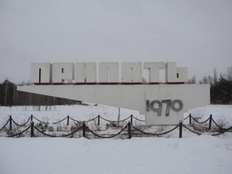 Ortsschild Pripyat mit Gründungsjahr 1970
