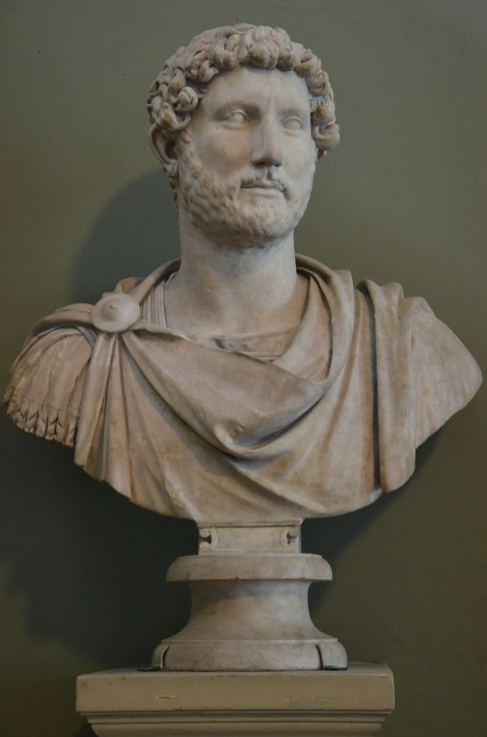 Marble bust of the emperor Hadrian wearing military dress, from Hadrian's Villa, AD 117-118, British Museum
