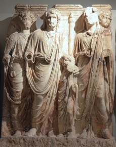 "Marcus Aurelius, Antoninus Pius, small Lucius Verus and Hadrian, a scene of a cycle ""Adoption"" of the Parthian frieze from Ephesus, the Parthian Monument reliefs, post 169 AD, Ephesos Museum Vienna, Austria"