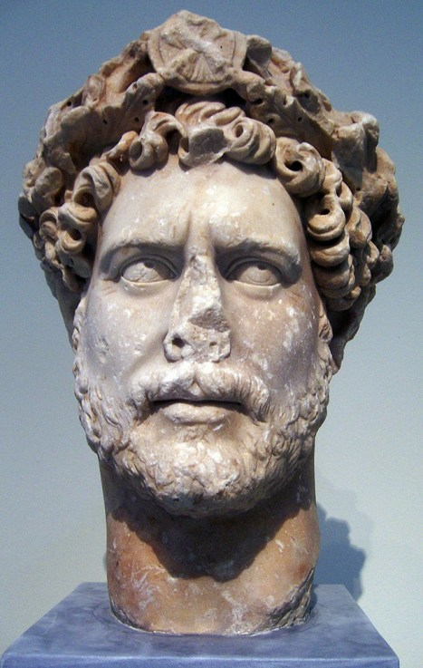 Marble, colossal portrait head of the emperor Hadrian, found in Athens, AD 130-138, National Archaeological Museum of Athens