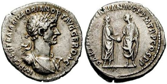 Hadrian Denarius. Struck 117 AD. IMP CAESAR TRAIAN HADRIAN OPT AVG GER DAC, laureate, draped & cuirassed bust right / PARTHIC DIVI TRAIAN AVG F P M TR P COS P P, Trajan and Hadrian standing left and right holding globe between them. RSC 1009c
