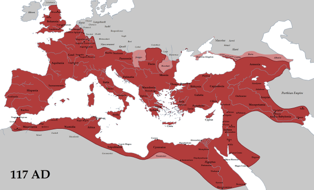 The Roman Empire (red) and its clients (pink) in 117 AD during the reign of emperor Trajan. (©Tataryn77 - Wikipedia)