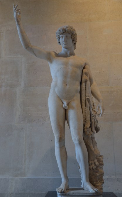 "So-called ""Braschi Antinous"", the statue is composed of an antique head of Antinous and an antique body of Hercules, 2nd century AD, Louvre Museum"