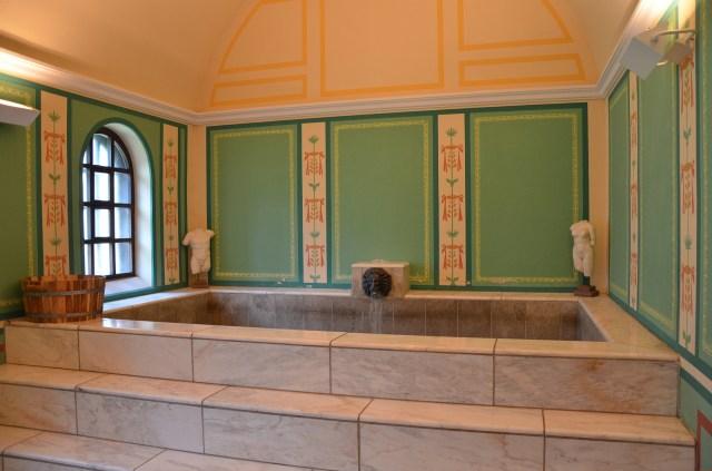 The reconstructed caldarium (hot bath), Villa Borg © Carole Raddato