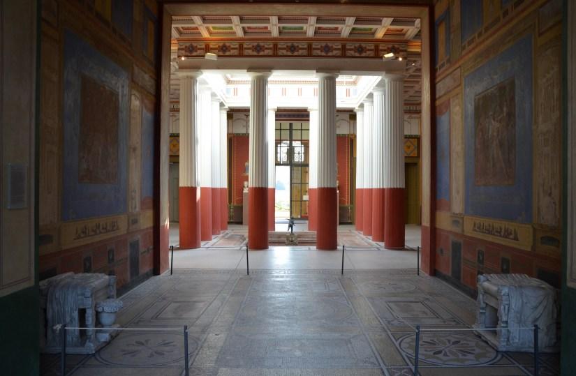 The Tablinium facing the Atrium, decorated in the 4th Pompeii style, Pompeiianum, Aschaffenburg, Germany © Carole Raddato