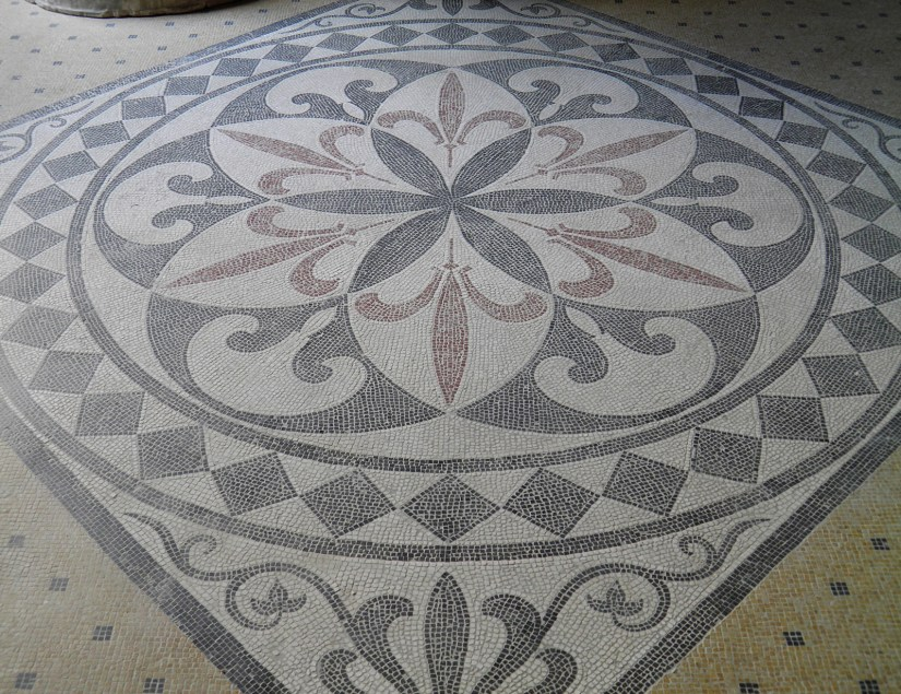 Mosaic floor inside the summer triclinium, Pompeiianum, idealized replica of a Roman villa, Aschaffenburg, Germany © Carole Raddato