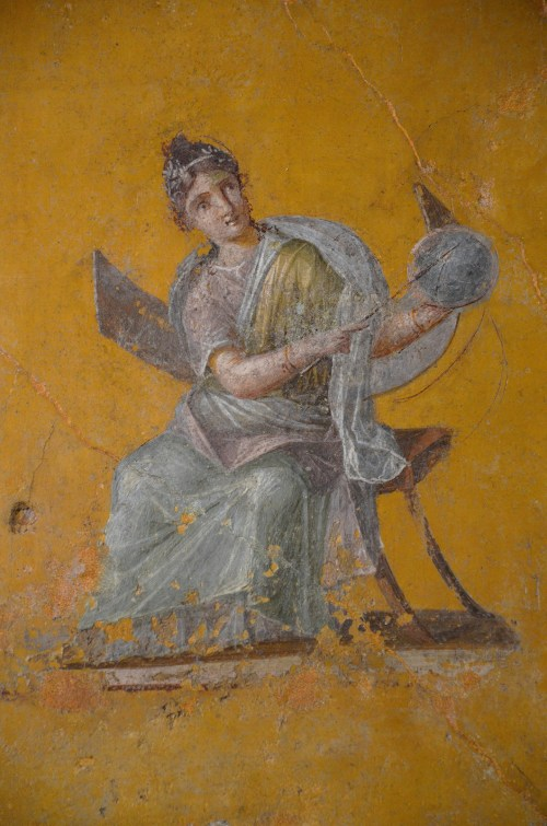 Fresco fragment depicting Urania, from the House of Julia Felix in Pompeii, 62-79 AD Empire of colour - From Pompeii to Southern Gaul, Musée Saint-Raymond Toulouse On loan from Louvre, Paris Carole Raddato CC BY-SA