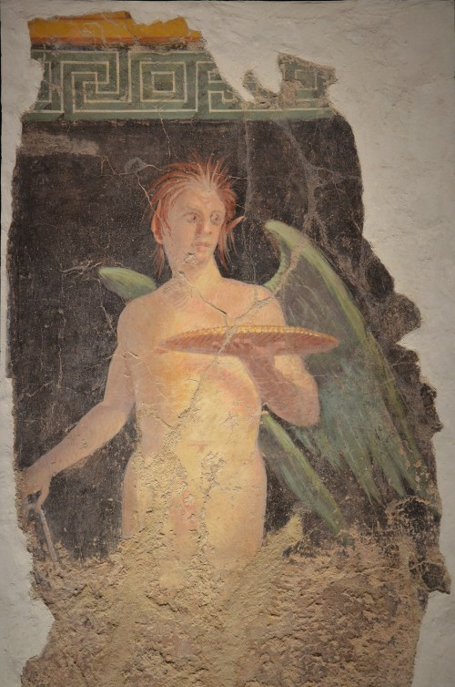 Fresco depicting a winged genius holding a patera (sacrificial dish), from the north wall of the peristyle of Villa of P. Fannius Synistor at Boscoreale, 40–30 BC, Empire of colour. From Pompeii to Southern Gaul, Musée Saint-Raymond Toulouse © Carole Raddato