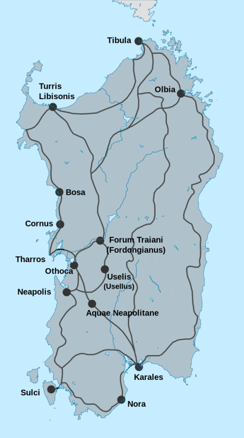The main cities and roads of Sardinia in Roman times Wikipedia CC BY-SA 3.0