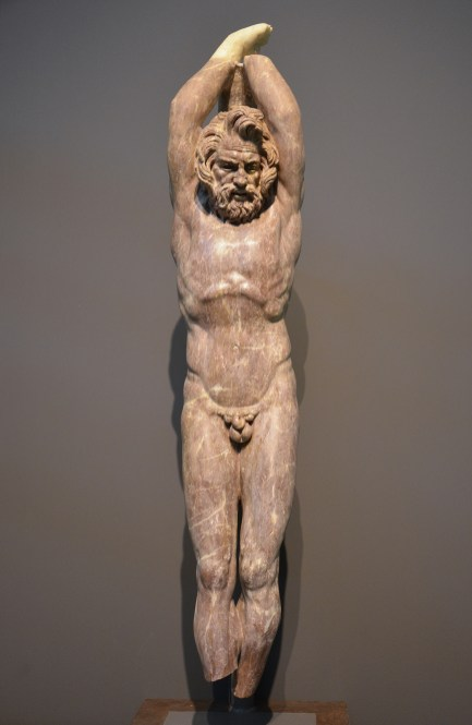 2nd c. AD statue in red marble of Marsyas, a satyr who dared challenge Apollo to a music contest , found at the Villa Vignacce in southeastern Rome during 2009 excavations carried by the American Institute for Roman Culture Centrale Montemartini, Rome
