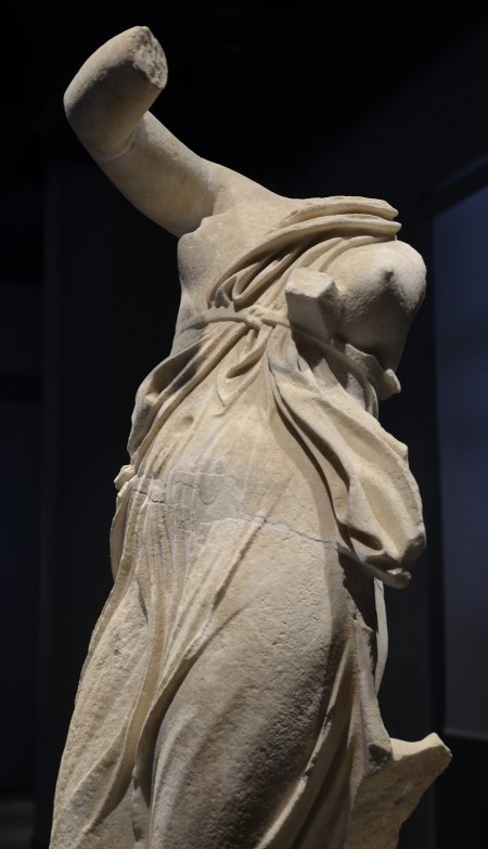 Dancing female figure, thought to be a portrait of Praxilla of Sikyon (a Greek lyric poet), from the portico of the pecile at Hadrian's Villa, 117 - 138 AD Palazzo Massimo alle Terme, Rome