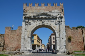 Arch of Augustus at Ariminum, dedicated to the Emperor Augustus by the Roman Senate in 27 BC, the oldest Roman arch which survives, Rimini, Italy