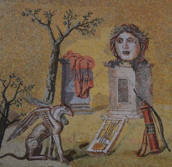 Mosaic with theatrical mask surrounded by attributes of Apollo, from Hadrian's Villa, Sala a Tre Navate, Gabinetto delle Maschere, Musei Vaticani