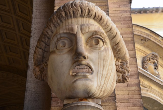 Theatrical mask from the South Theatre (Odeum) at Hadrian's Villa, Cortile del Belvedere, Vatican Museums