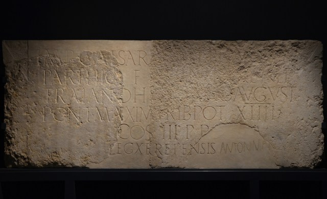 Latin inscription dedicated by the Tenth Fretensis Legion in honour of Hadrian, 130 AD, from Jerusalem, Hadrian: An Emperor Cast in Bronze, Israel Museum