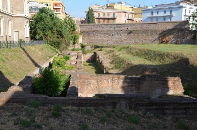 The remains of the Circus Varianus near the church of Santa Croce in Gerusalemme in Rome.