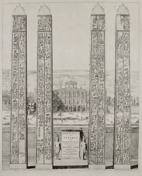 The obelisk of Veranus, Rome. Engraving from Joannes Blaeu (1633).