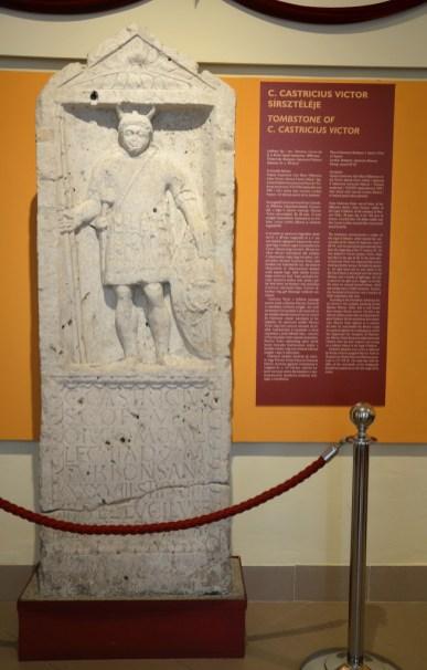 Tombstone of C. Castricius Victor, soldier of the Legio II Adiutrix in Aquincum, around 90 AD.