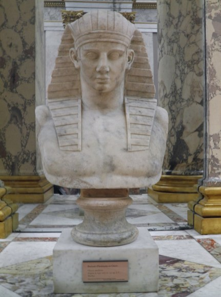 Antinous as Osiris on a modern bust, found in Hadrian's Villa, Louvre Museum