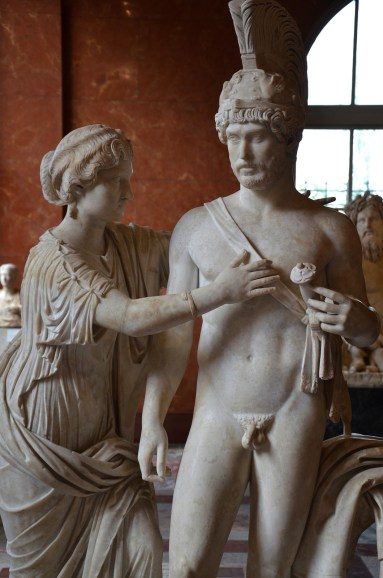 Imperial group as Mars and Venus; the male figure is a portrait of Hadrian, the female figure was reworked into a portrait of Annia Lucilla (?). Marble, Roman artwork, ca. 120–140 AD, reworked ca. 170–175 AD, Louvre Museum