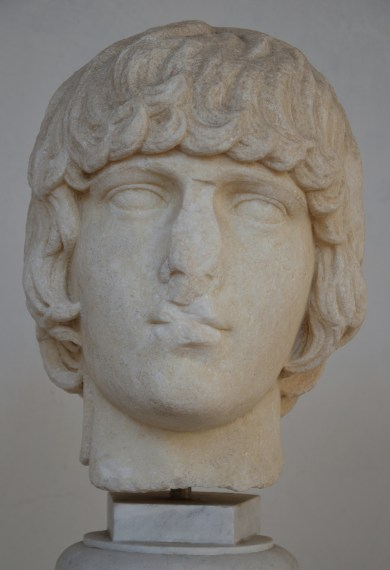 Head of Antinous, formely Maviglia Collection in Tivoli, 130-138 AD, Baths of Diocletian Museum, Rome