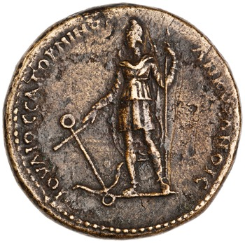 Commemorative coin minted by Julius Saturninus at Ancyra REV: man standing in a sleeved tunic, eastern pants and a Phrygian cap, holding a scepter in one hand and an anchor in the other, crescent behind him, with legend IOVΛIOC | CATOPNINOC | ANKVPANOIC CC BY-NC 4.0 American Numismatic Society