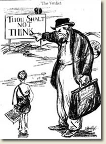 "Cartoon about Fundamentalists - ""Thou shalt not think"""