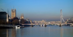 A view looking back to central London
