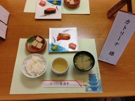 Traditional Japanese breakfast at Temple 75, Zentsuji (fish, miso soup, rice, tofu, green tea)