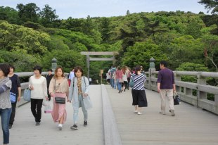 Crossing the Ujibashi bridge over the Isuzugawa river to entre Ise Naiku Shrine