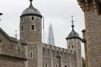 Old meets new - 800 year old Tower in foreground, ugly modern architecture of The Shard in the background
