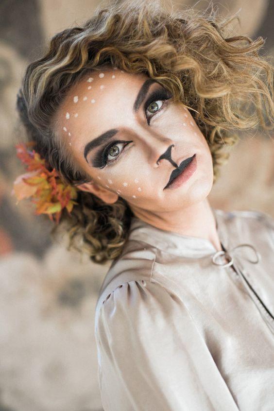 Idee per Halloween. makeup da gatto e cerbiatto