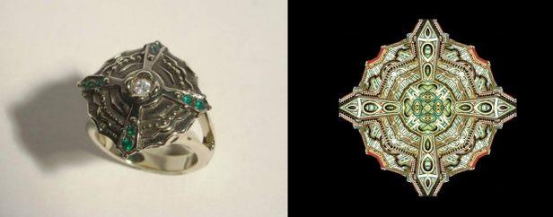 Anima Urbis 19 versione anello (oro bianco brunito con brillante e smeraldi) realizzato da Luisa Bruni.