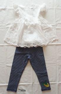 outfit leggins stripes& top frou-frou