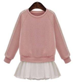 Elegant Flounce Lace Splicing Long Sleeve Jewel Neck Sweatshirt For Women