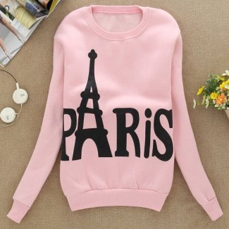 Preppy Style Women's Jewel Neck Tower and Letter Print Long Sleeve Flocking Sweatshirt