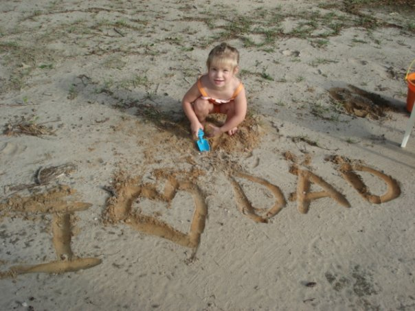 Rebekah Writing in the Sand