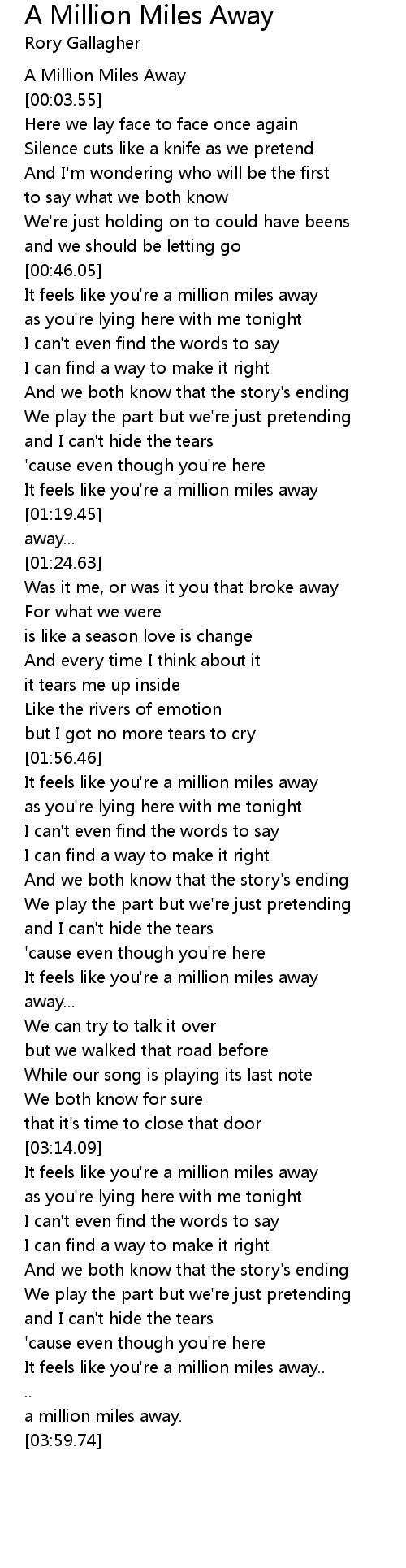 We Both Know Lyrics : lyrics, Million, Miles, Lyrics, Follow