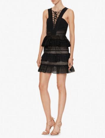 self portrait lace up tier dress