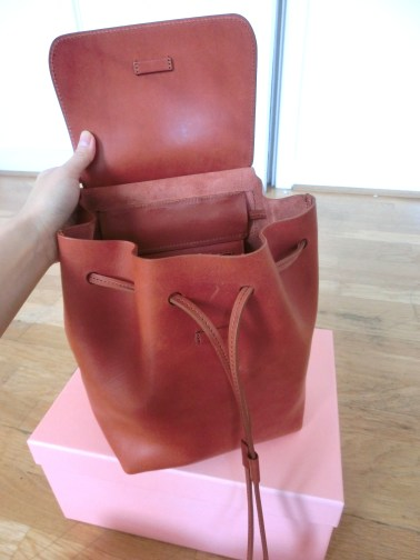 mansur gavriel mini backpack unbox inside