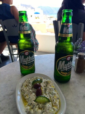 Afternoon snack of Greek beer and tzatziki to escape the heat