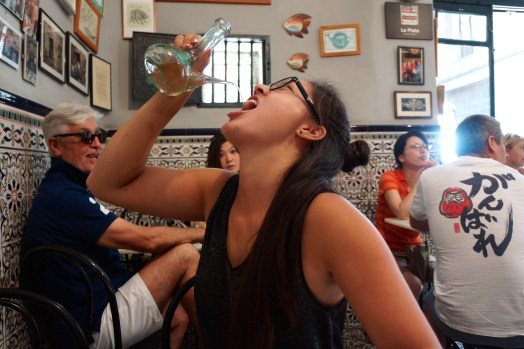 Me attempting to drink out of a porron - had a guy rooting for me in the background