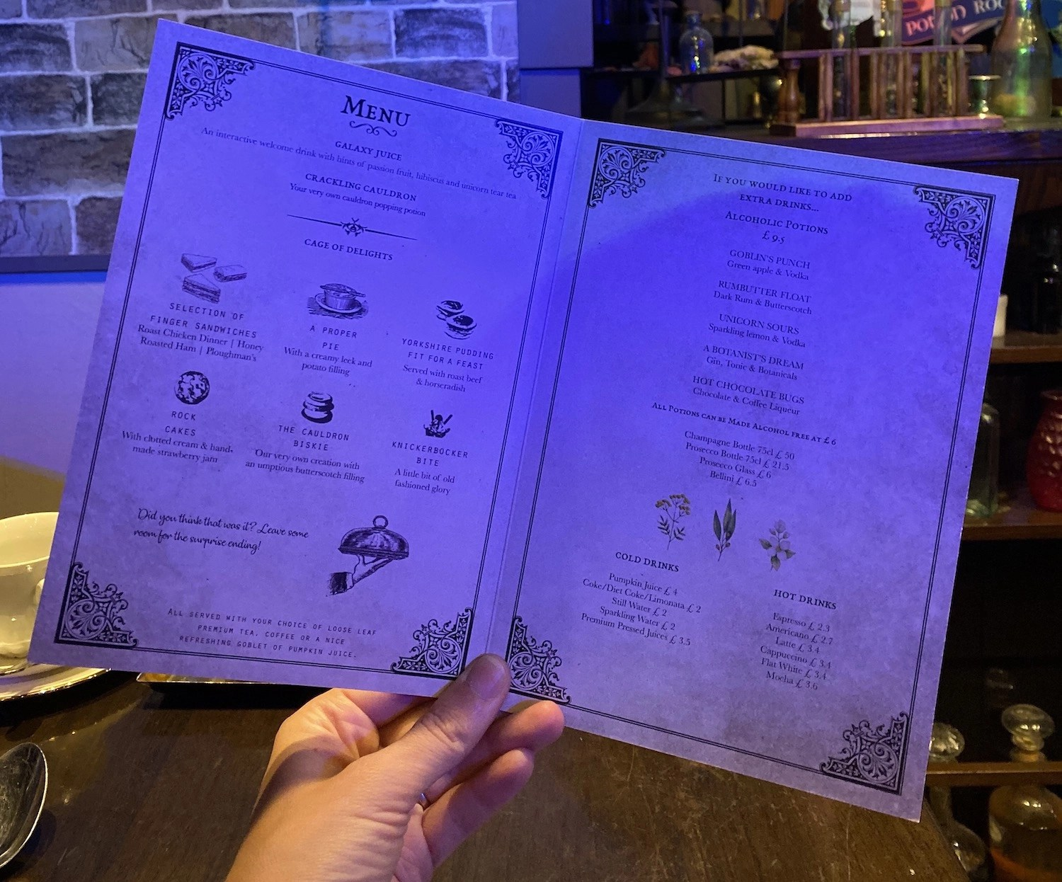 Harry Potter Afternoon Tea - Cutter & Squidge Menu