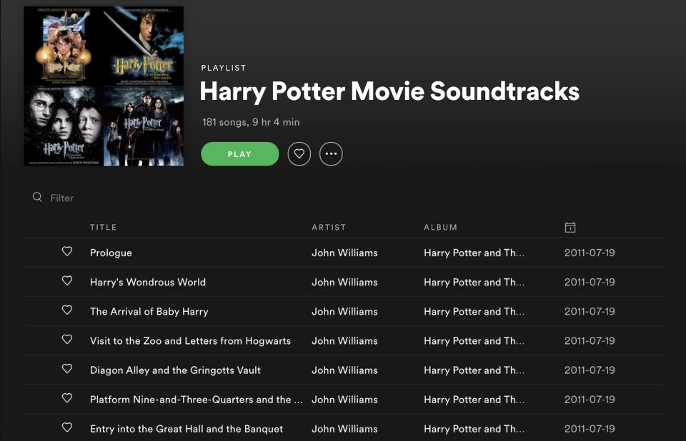 Harry Potter Spotify Playlist