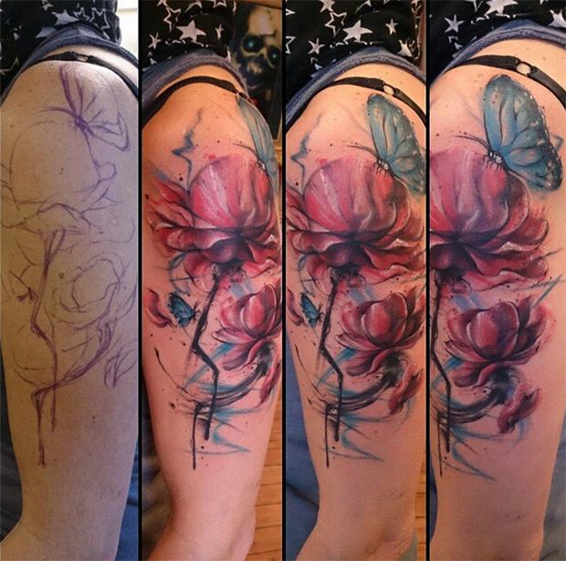 follow the colours tattoo friday realismo aquarela suliée pepper borboleta flor