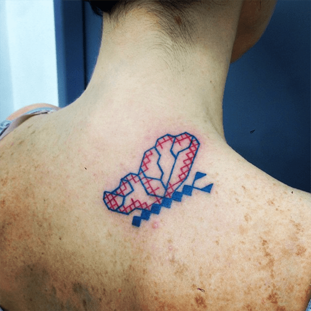tatuagem ponto cruz Mariette borboleta